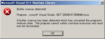 Buffer overrun detected!